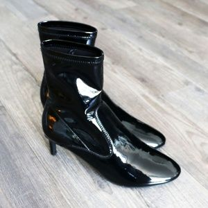 NEW Zara Faux Patent Leather Ankle Boots Black